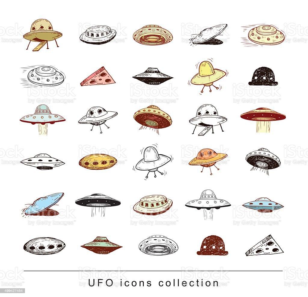 Ufo icon doodle. Vector illustration. vector art illustration