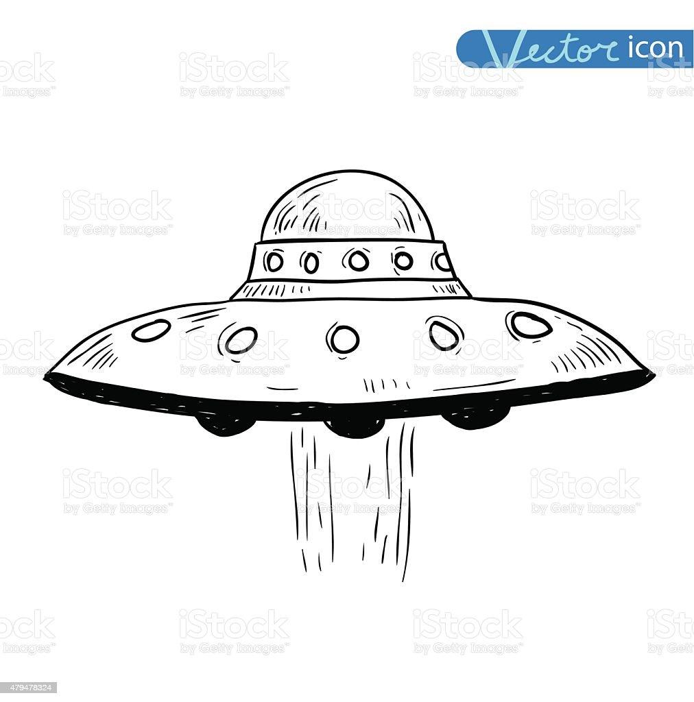 Ufo icon Pencil drawing sketch. Vector illustration. vector art illustration
