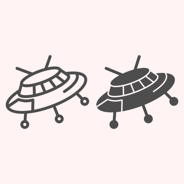 Ufo line and glyph icon. Alien spaceship. Astronomy vector design concept, outline style pictogram on white background, use for web and app. Eps 10. Ufo line and glyph icon. Alien spaceship. Astronomy vector design concept, outline style pictogram on white background, use for web and app. Eps 10 ancient civilization stock illustrations