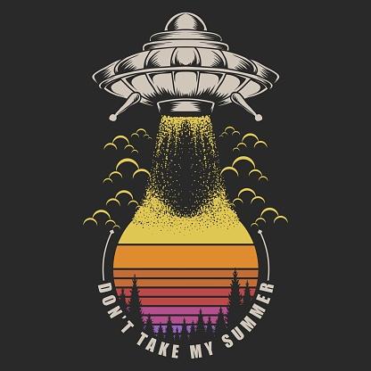Ufo Take Sunset retro illustration