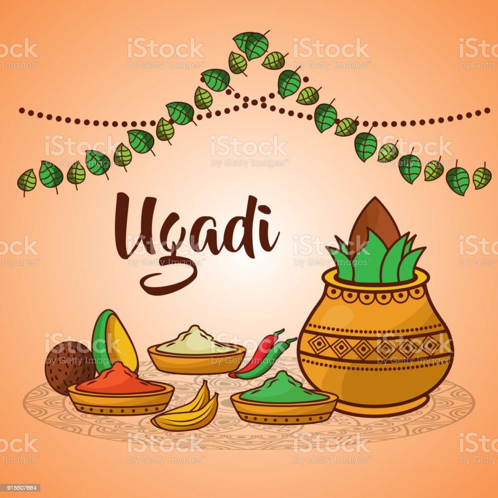 Ugadi pot en céramique décoration alimentaire épices noix de coco traditionnel - Illustration vectorielle
