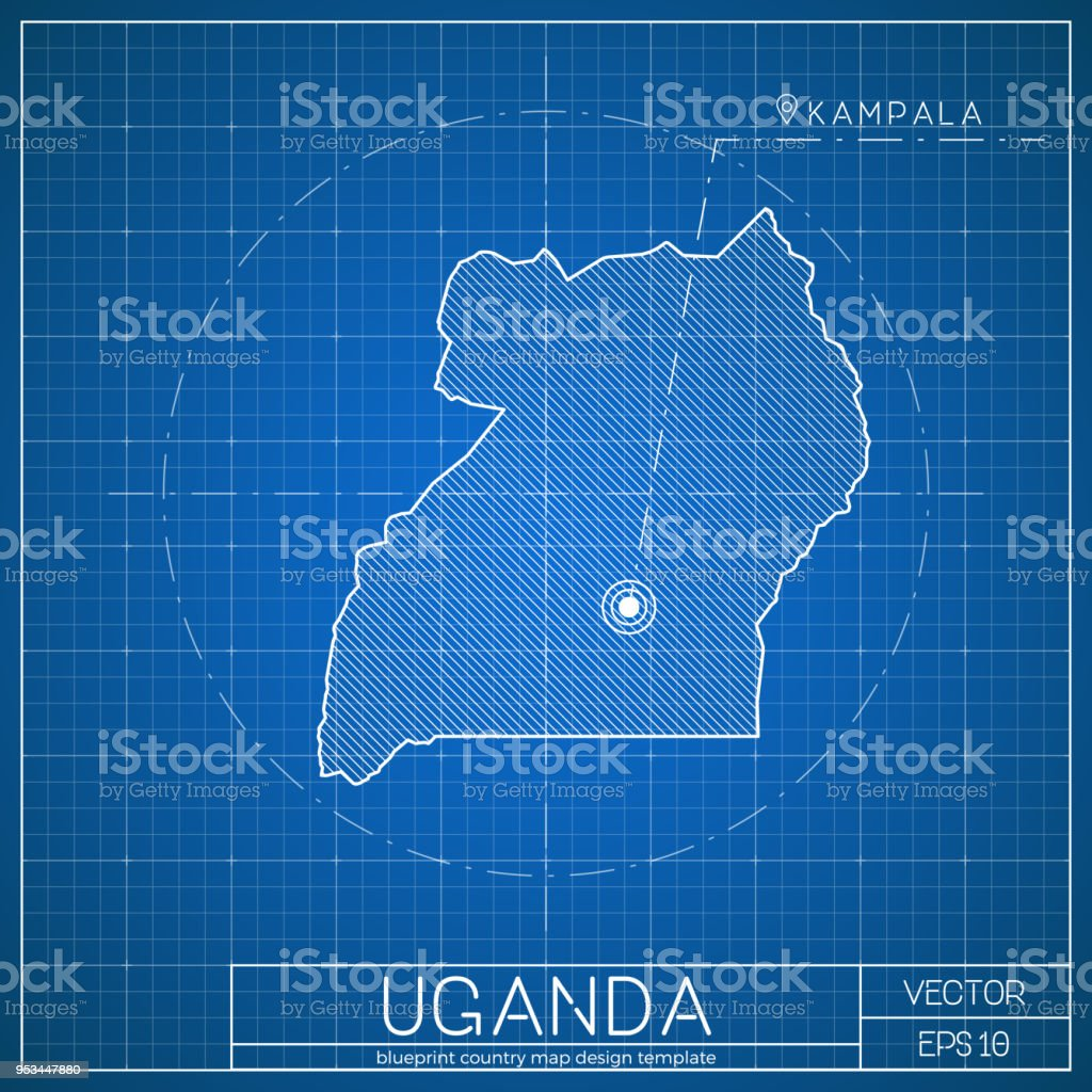 Uganda blueprint map template with capital city stock vector art uganda blueprint map template with capital city royalty free uganda blueprint map template with malvernweather Images