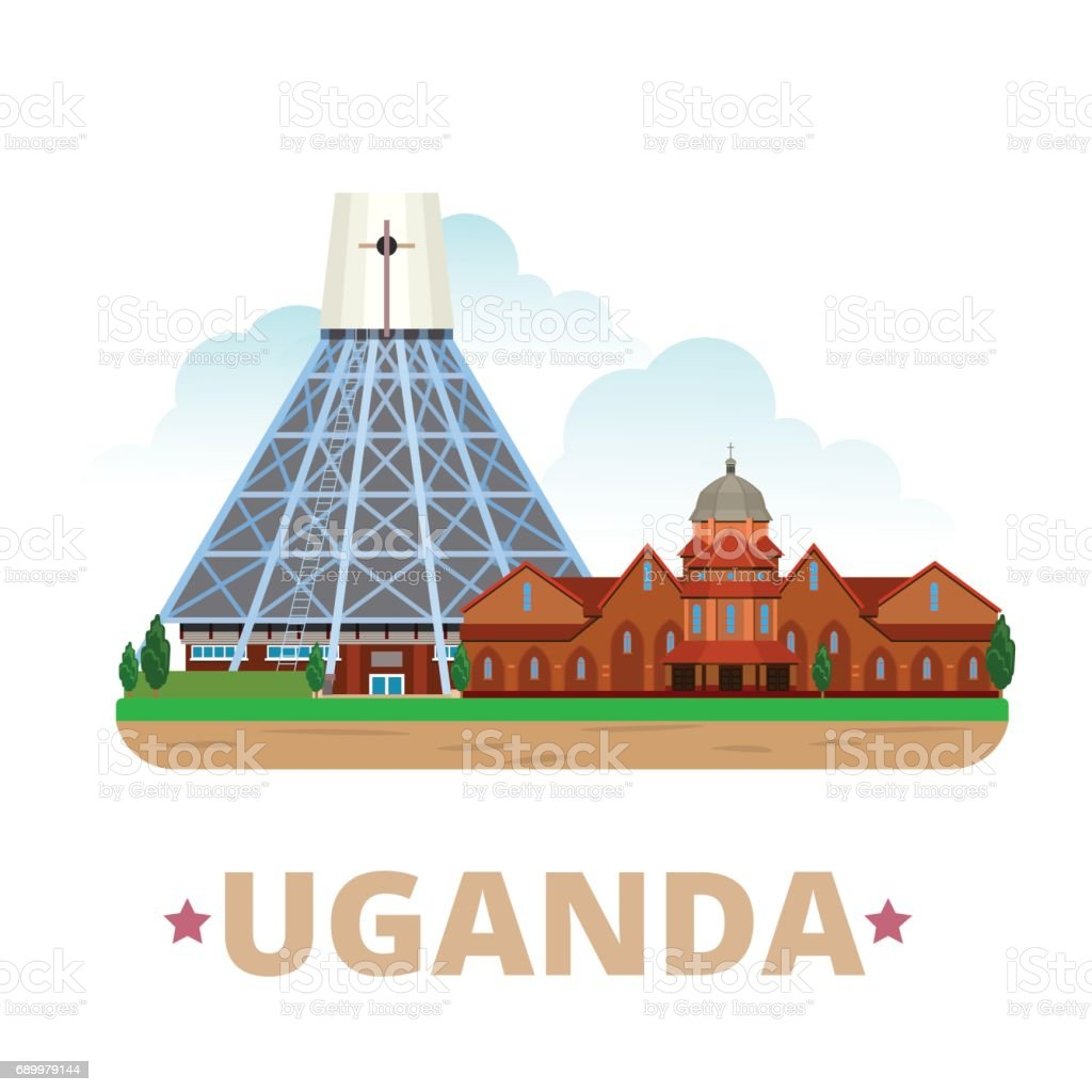 Uganda country design template. Flat cartoon style historic sight showplace web site vector illustration. World travel Africa African collection. Basilica of the Uganda Martyrs Namirembe Cathedral. vector art illustration