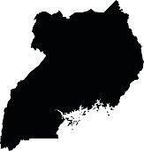 Uganda map on white background vector