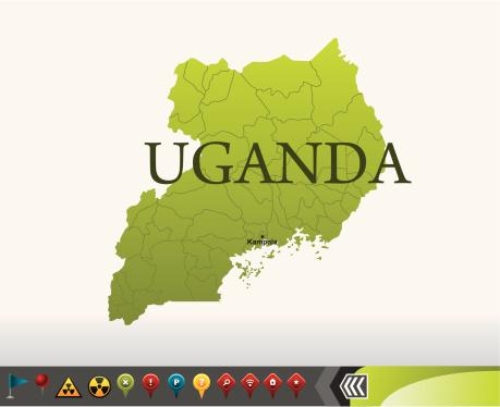 Uganda map with navigation icons