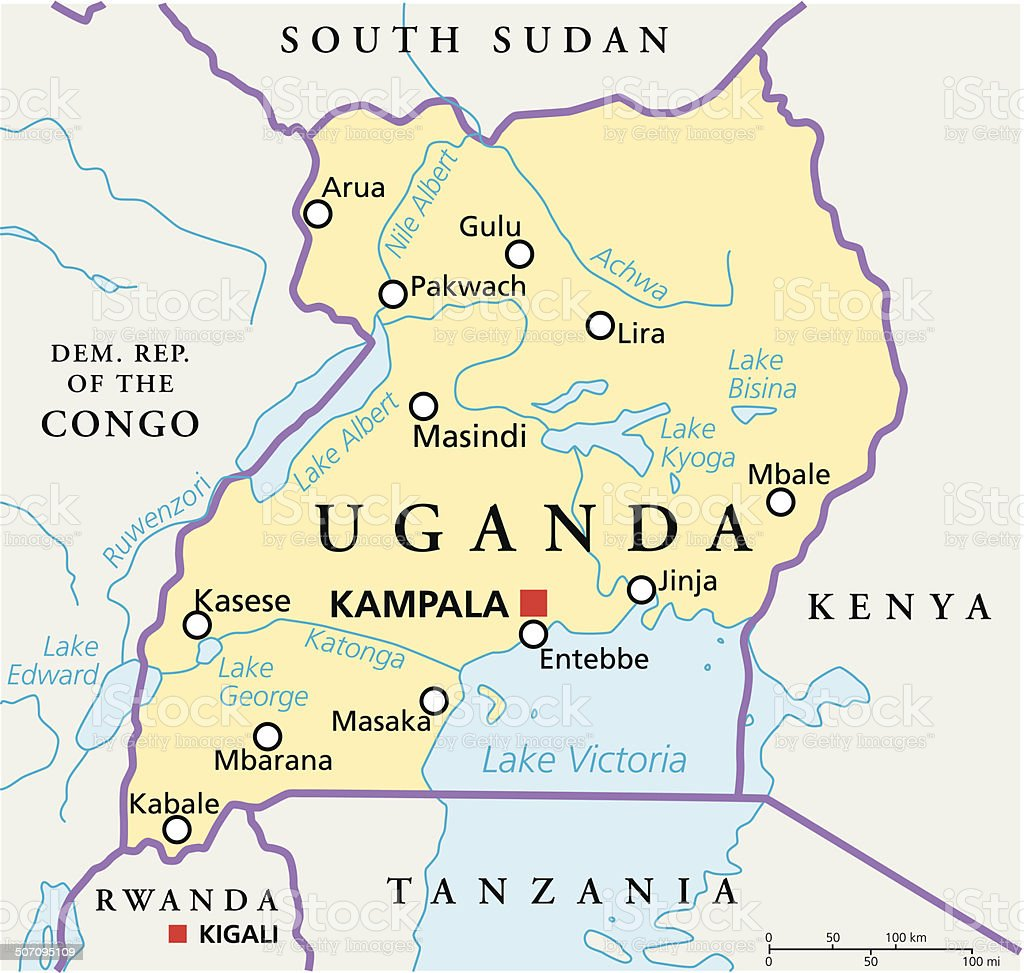 Uganda Political Map vector art illustration