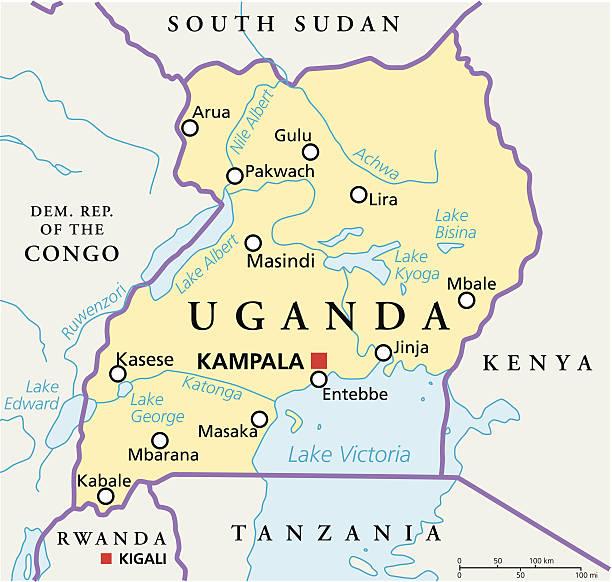 Uganda politische Karte – Vektorgrafik