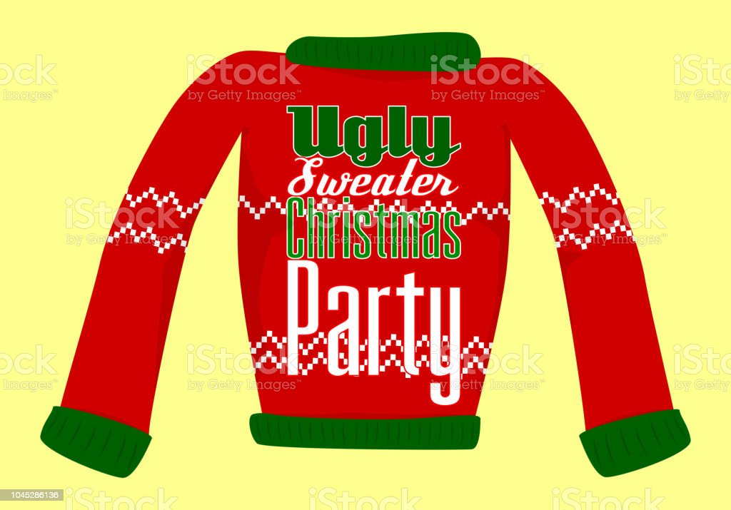Ugly Christmas Sweater Party Postcard Or Invitation Stock Vector Art