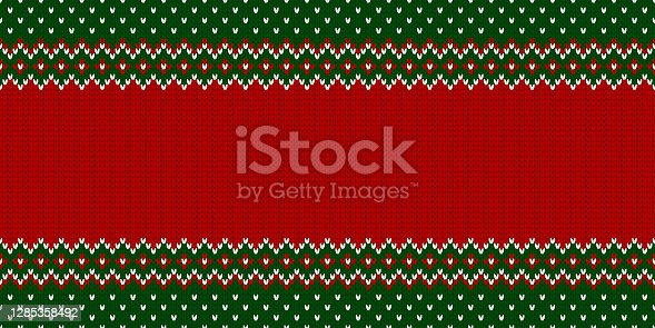 istock Ugly Christmas Sweater Party. Template with place for text. Knitted pattern. 1285358492