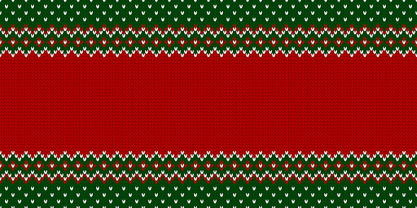 Ugly Christmas Sweater Party. Template with place for text. Knitted pattern.
