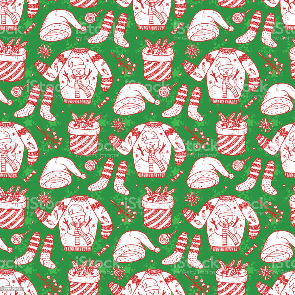 Ugly Christmas Sweater Party Vector Xmas Seamless Pattern ...