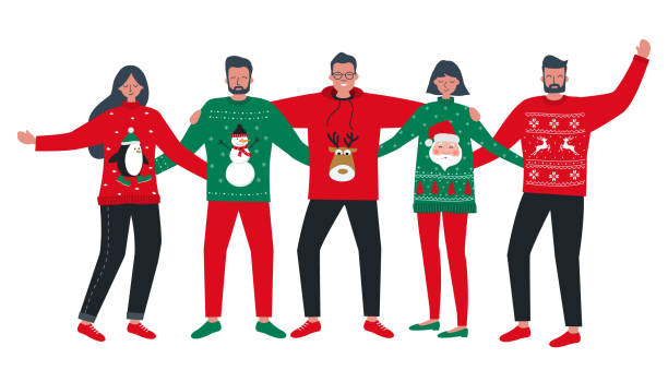 Ugly Christmas Sweater Party. Young people in red and green Christmas sweaters vector art illustration