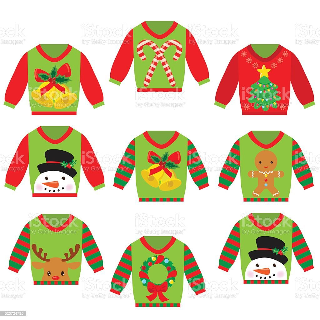 Ugly Christmas Sweater Vector Cartoon Illustration Stock Vector Art ...