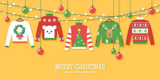 stockillustraties, clipart, cartoons en iconen met ugly christmas truien holiday party uitnodiging vector ontwerpsjabloon - trui