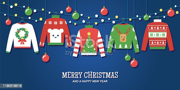 istock Ugly Christmas sweaters holiday party invitation vector design template 1190518519