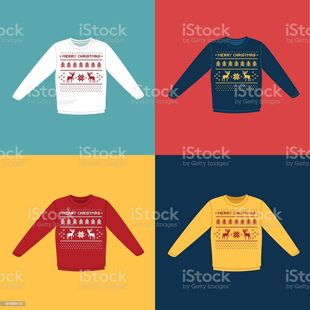Ugly Christmas sweaters or jumpers with pixel deers icons set vector art illustration