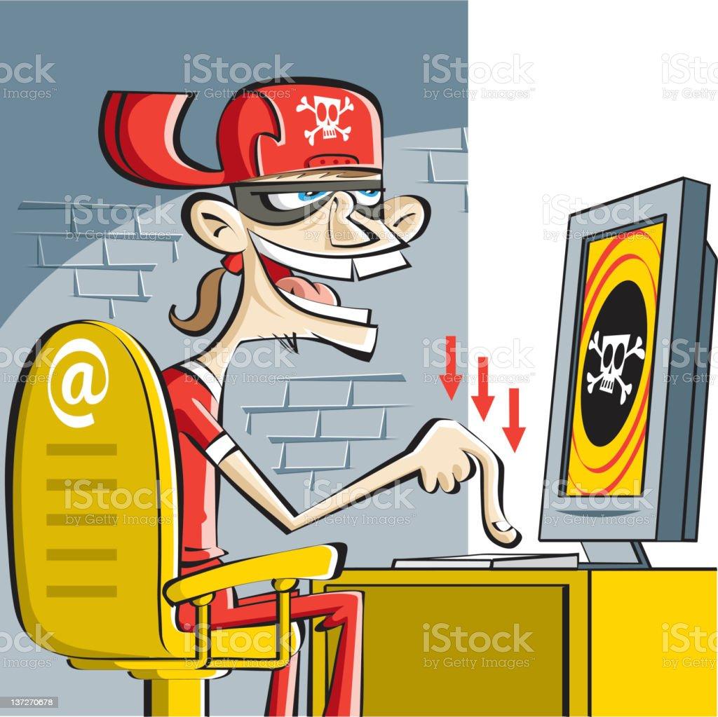 ugly hacker at work royalty-free stock vector art