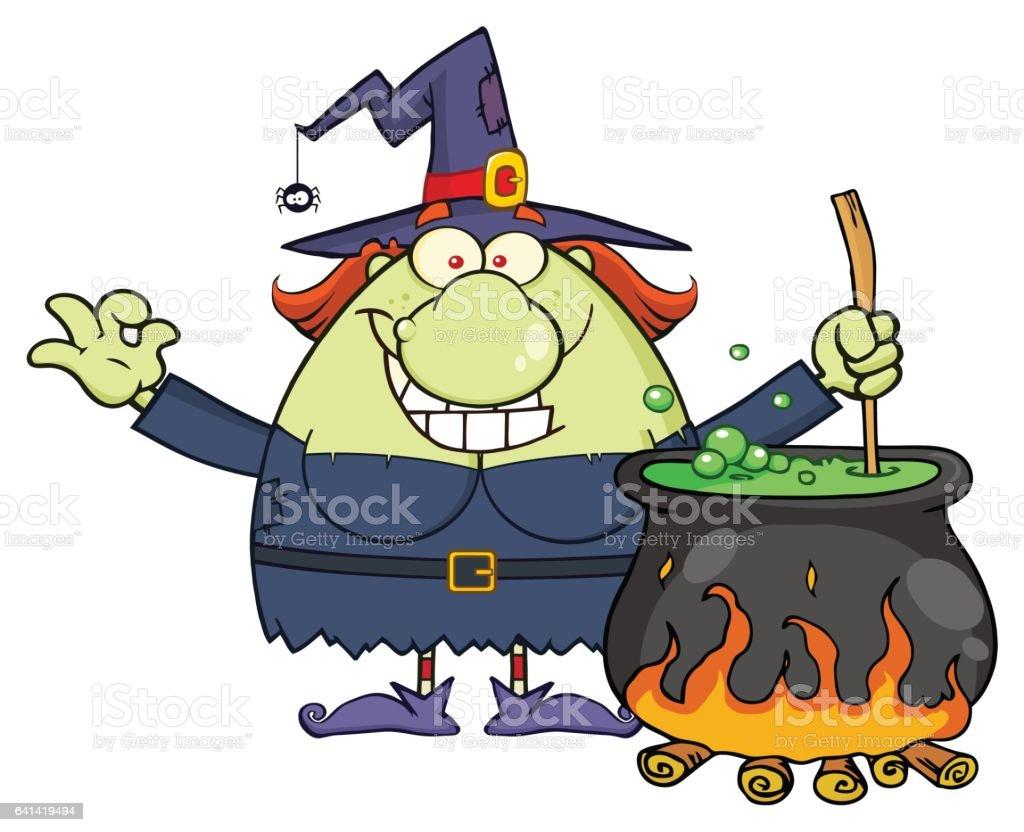 Hässliche Halloween Hexe Charakter Vorbereitung Einen Trank In Einem ...