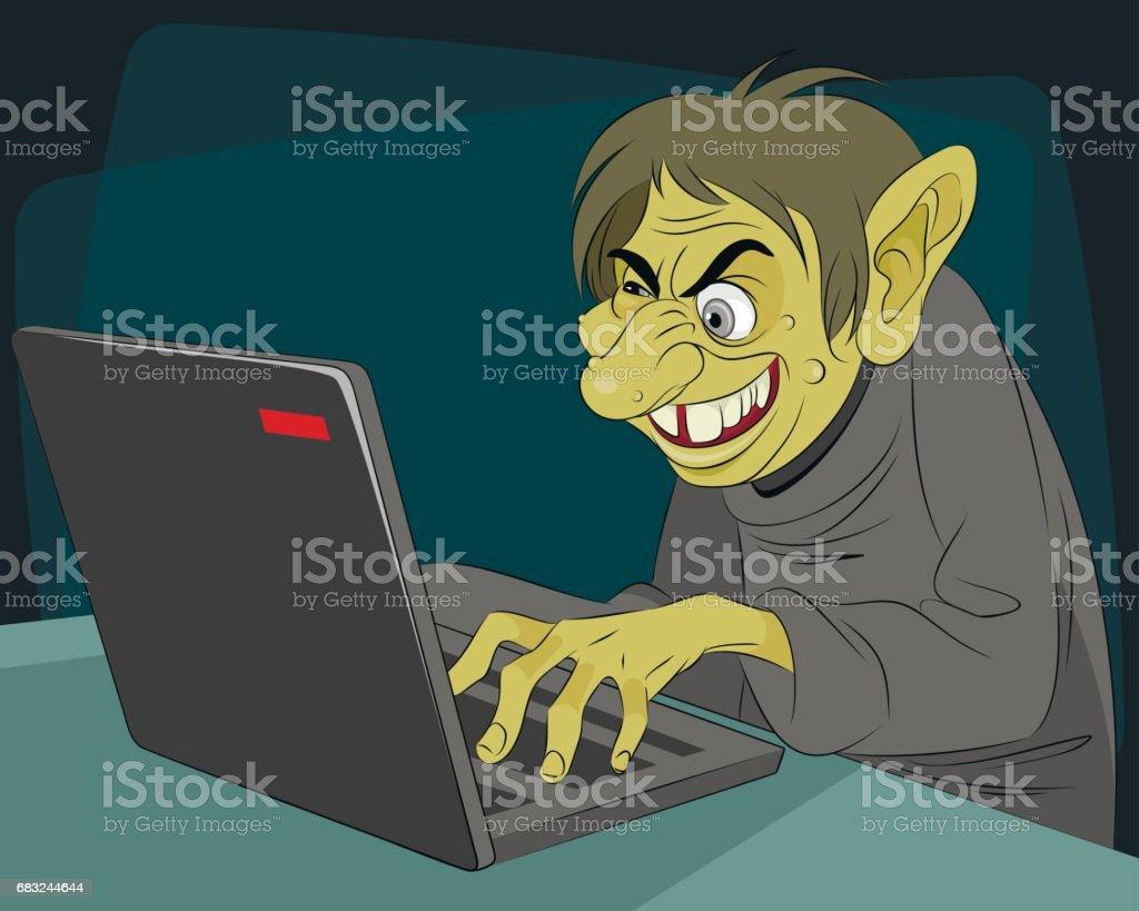 Ugly internet troll vector art illustration