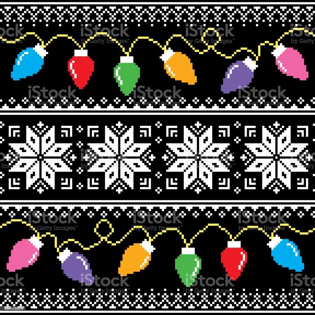 Hässliche Pullover Muster mit Weihnachtsbaum Lichter – Vektorgrafik