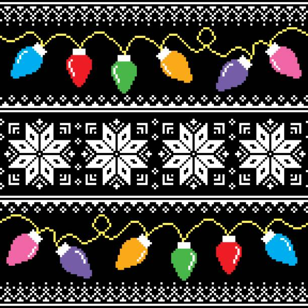 hässliche pullover muster mit weihnachtsbaum lichter - monster stock-grafiken, -clipart, -cartoons und -symbole