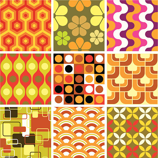 Ugly retro seamless patterns A set of nine not-so-subtle retro backgrounds from the 60's and 70's. funky stock illustrations
