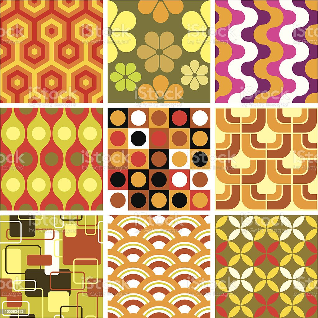Ugly retro seamless patterns vector art illustration