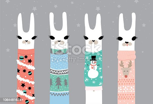 Llamas in funny ugly Christmas sweaters. Easy to edit global colours and separate layers