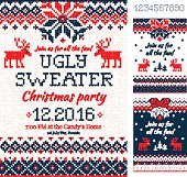 Ugly Sweater Christmas Party cards. Knitted pattern. Scandinavia