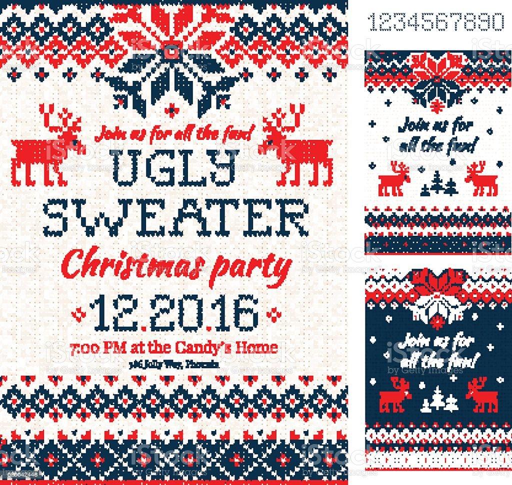 Ugly Sweater Christmas Party cards. Knitted pattern. Scandinavia – Vektorgrafik