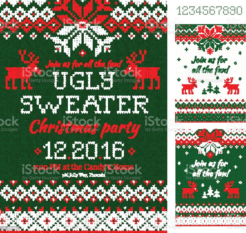 Ugly Sweater Christmas Party cards. Knitted pattern. Scandinavian style deers vector art illustration