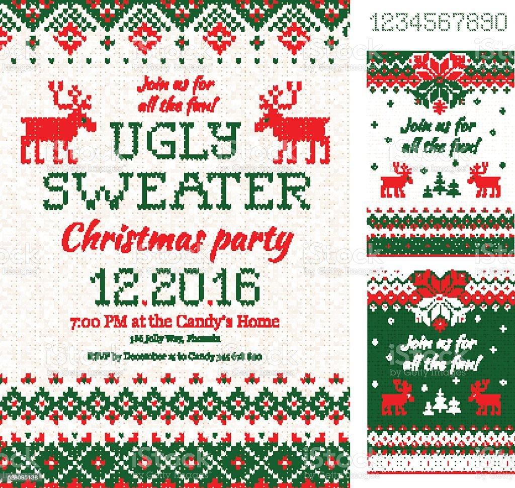 Ugly Sweater Christmas Party cards. Knitted pattern. Scandinavian style deers – Vektorgrafik