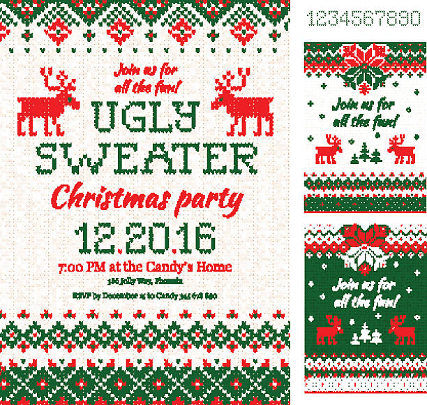 ugly sweater christmas party cards. knitted pattern. scandinavian style deers - monster stock-grafiken, -clipart, -cartoons und -symbole