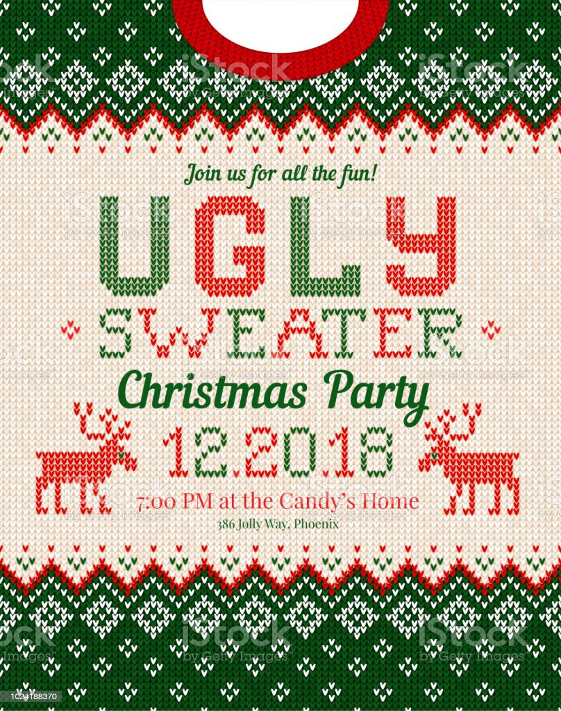 Ugly Sweater Christmas Party Invite Knitted Background Pattern