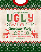 Ugly sweater Christmas party invite. Knitted background pattern scandinavian ornaments.