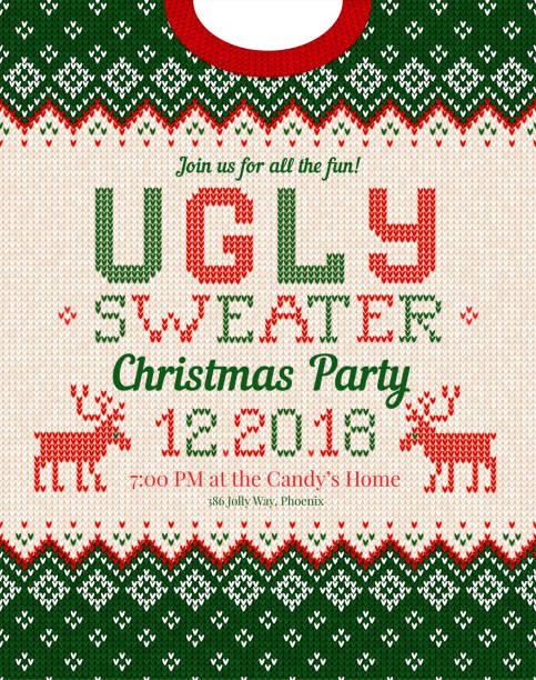 hässliche pullover weihnachtsfeier einladen. gestrickte hintergrund muster skandinavischen ornamente. - monster stock-grafiken, -clipart, -cartoons und -symbole