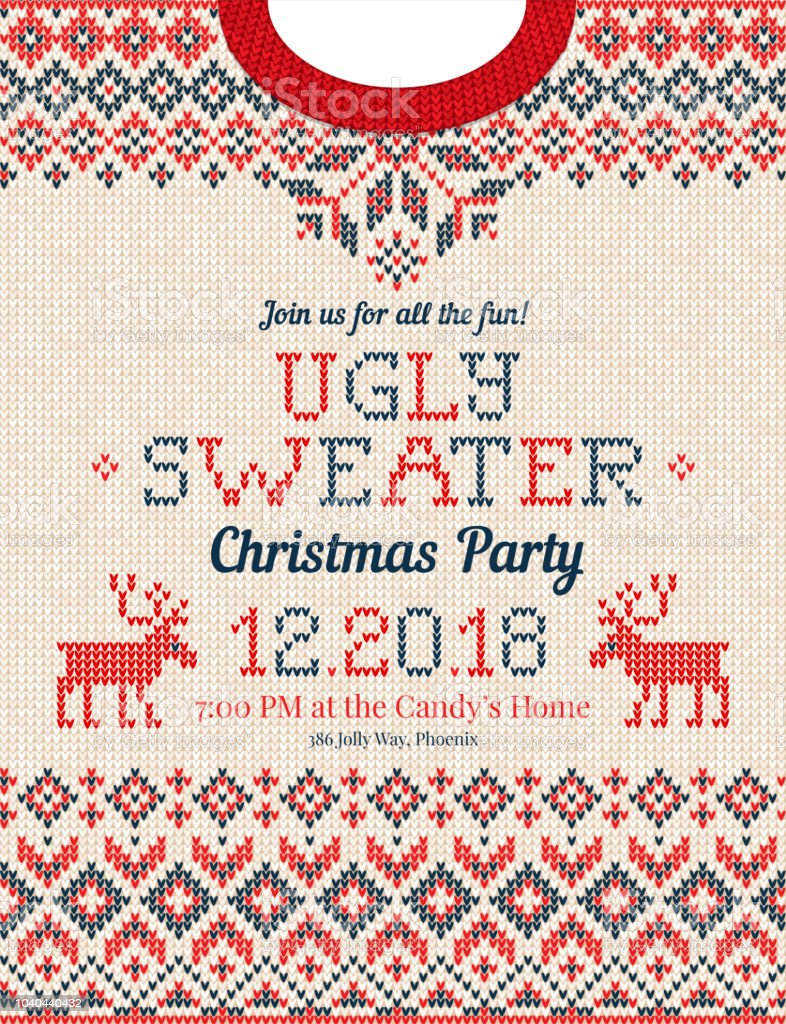 dee986b9cf099 Ugly sweater Christmas party invite. Knitted background pattern  scandinavian ornaments. royalty-free ugly