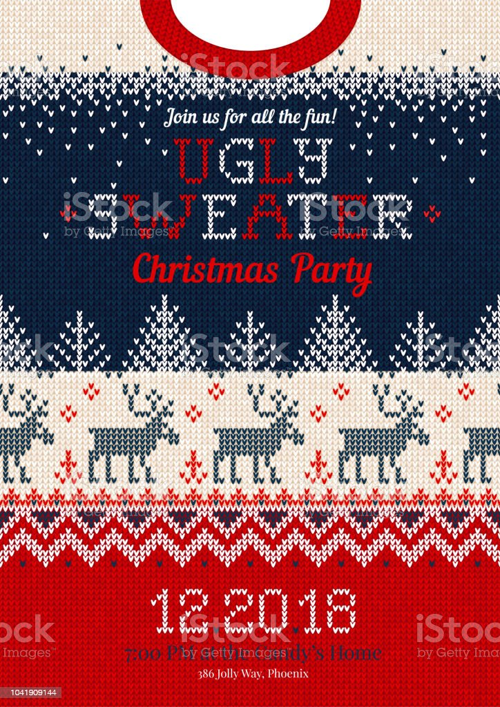 Christmas Sweater Pattern.Ugly Sweater Christmas Party Invite Knitted Background Pattern Scandinavian Ornaments Stock Illustration Download Image Now