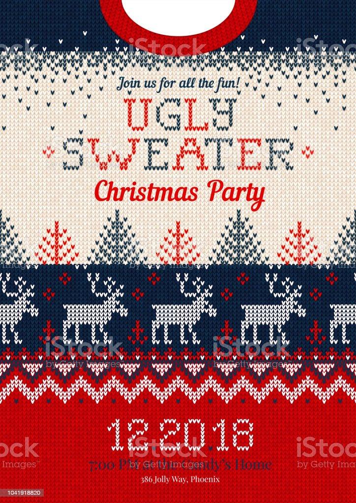 Hässliche Pullover Christmas Party einladen, gestrickte Hintergrund Muster skandinavischer Schmuck – Vektorgrafik