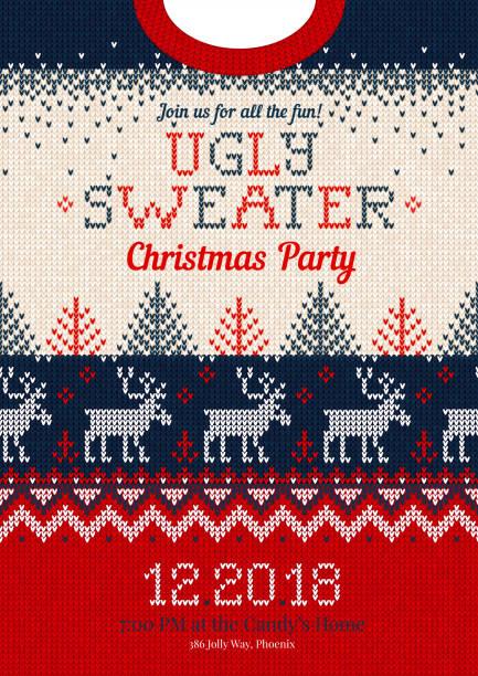 stockillustraties, clipart, cartoons en iconen met lelijke trui kerstmis partij uitnodigt, gebreide achtergrond patroon scandinavische versieringen - trui