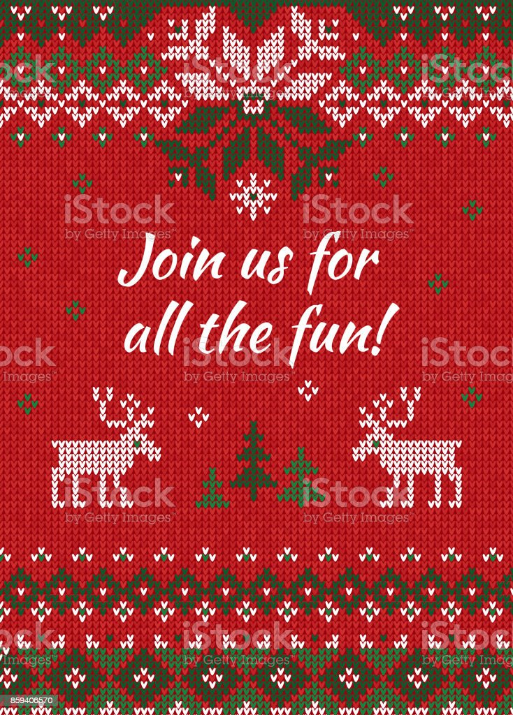 dafc7151020e Ugly sweater Christmas party invite. Knitted background pattern  scandinavian ornaments. - Illustration .