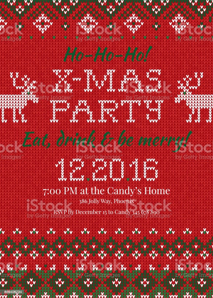 Ugly Sweater Christmas Party Invite Knitted Background Pattern ...