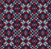 Ugly sweater Merry Christmas Season Winter seamless background . Vector illustration seamless knitted pattern with snowflakes, stars, scandinavian ornaments. White, red, blue colors