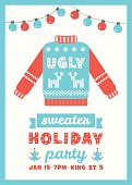 Ugly Sweater Holiday Party Invitation Card