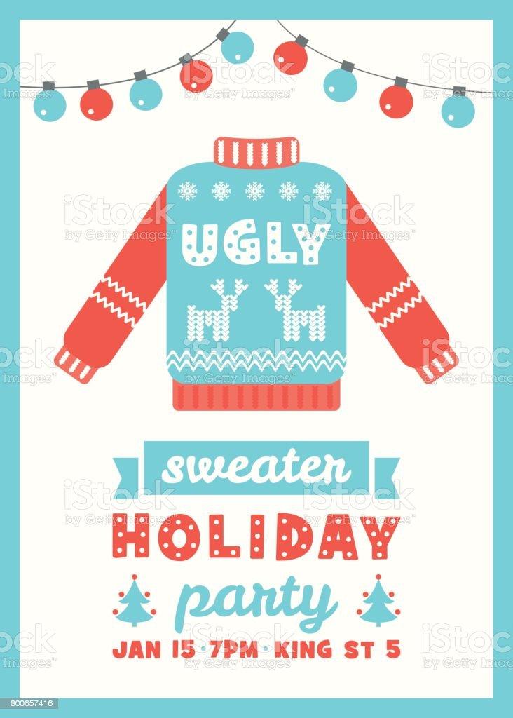 Hässliche Pullover Partyeinladung Weihnachtskarte – Vektorgrafik