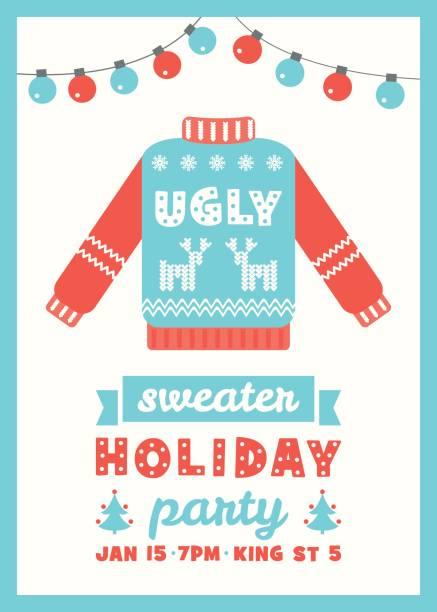 hässliche pullover partyeinladung weihnachtskarte - monster stock-grafiken, -clipart, -cartoons und -symbole