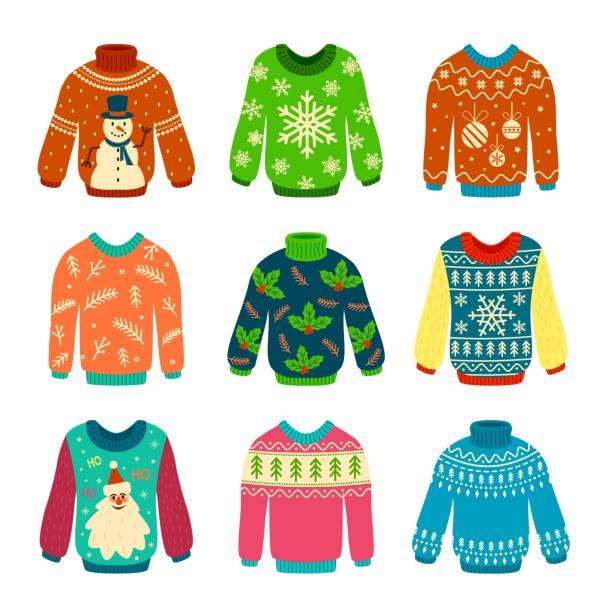 stockillustraties, clipart, cartoons en iconen met lelijke trui. gebreide truien met kerst patronen, sneeuwpop en kerstman. xmas scrapbook elementen vector set - trui