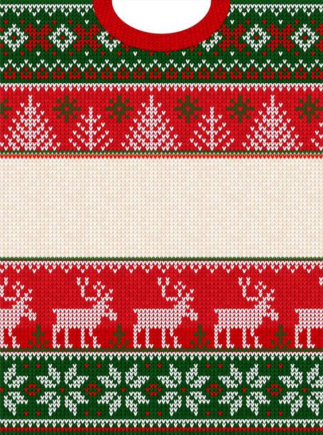 stockillustraties, clipart, cartoons en iconen met lelijke trui gelukkig nieuwjaar merry christmas wenskaart frame. - trui