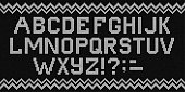 Ugly sweater Merry Christmas knit font alphabet ornament. Vector illustration Knitted background seamless pattern scandinavian dark ornament. Black and white monochrome knitting
