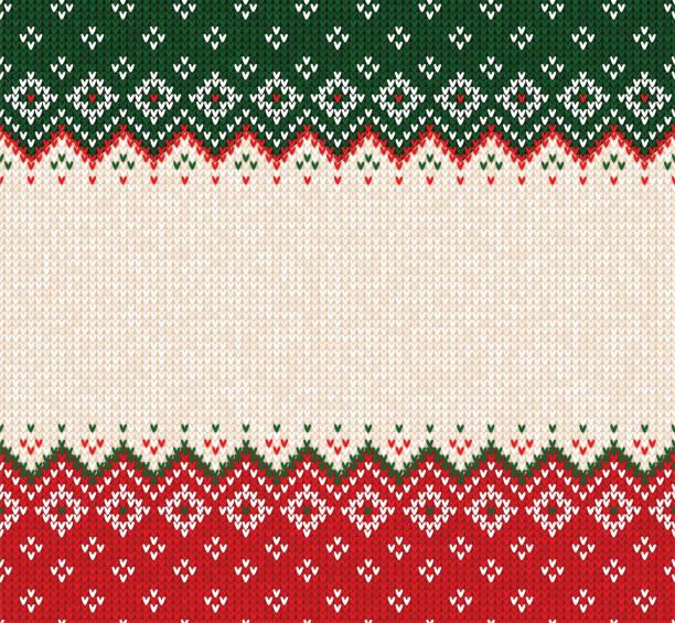 stockillustraties, clipart, cartoons en iconen met lelijke trui merry christmas ornament scandinavische stijl gebreide achtergrond naadloze framerand - trui